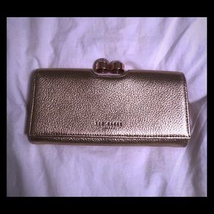 Ted Baker Rose Gold Pearl Clasp Matinee Clutch